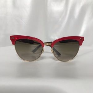 GUCCI Damascato Red Gold Brown Cat Eye Sunglasses